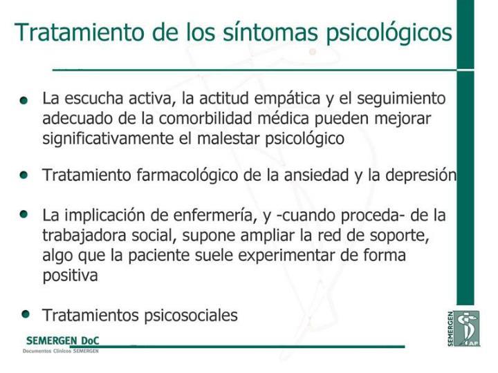 Tratamiento de los síntomas psicológicos