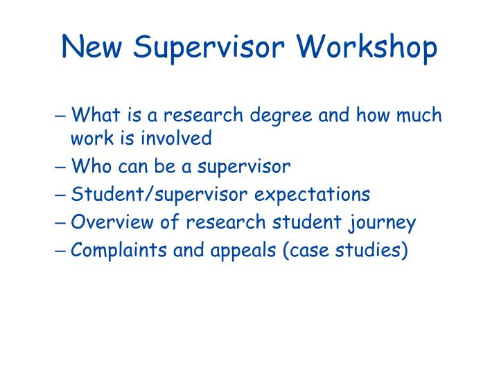 New supervisor workshop1