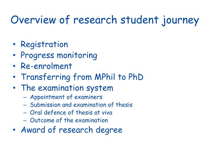 Overview of research student journey