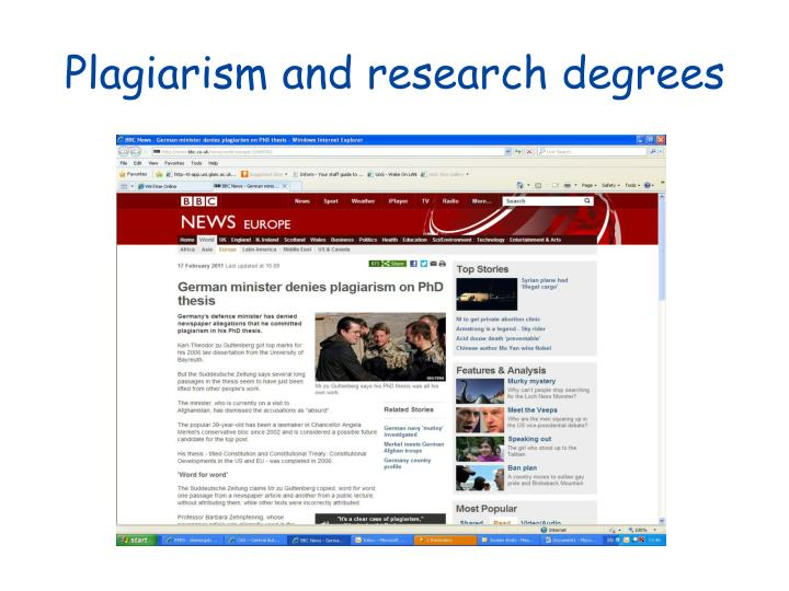 Plagiarism and research degrees