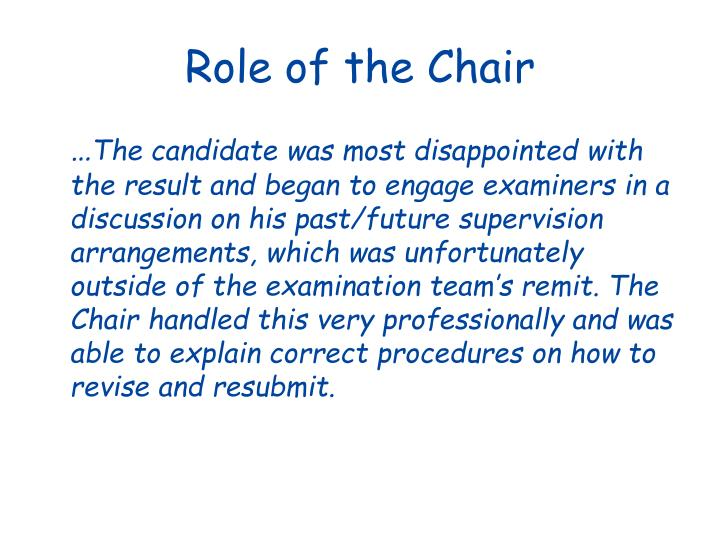 Role of the Chair