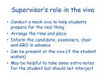 supervisor s role in the viva