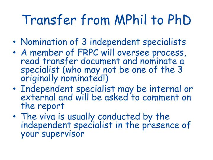 Transfer from MPhil to PhD