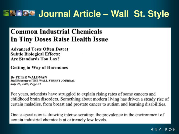 Journal Article – Wall  St. Style