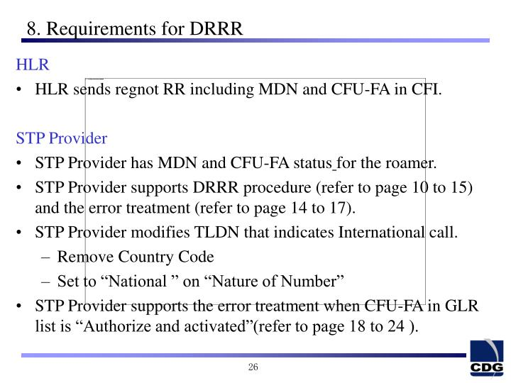 8. Requirements for DRRR