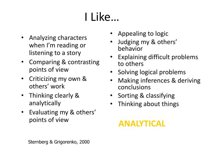 Analyzing characters when I'm reading or listening to a story