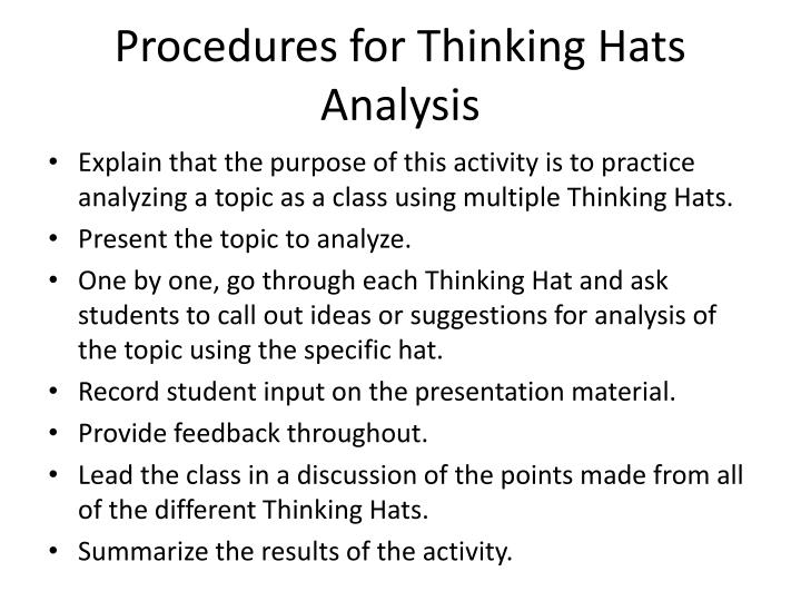 Procedures for Thinking Hats Analysis