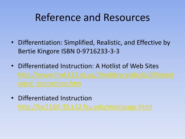 Reference and Resources