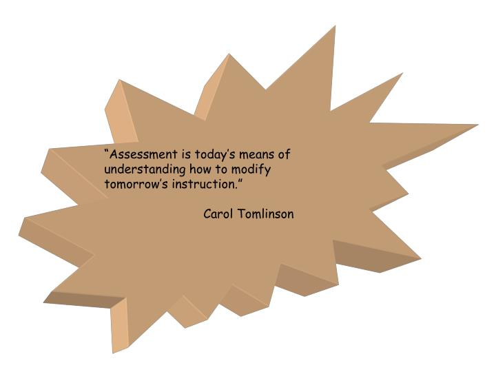 """Assessment is today's means of"