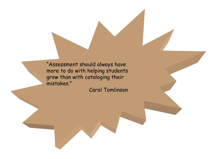 """Assessment should always have"