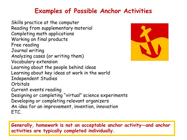 Examples of Possible Anchor Activities