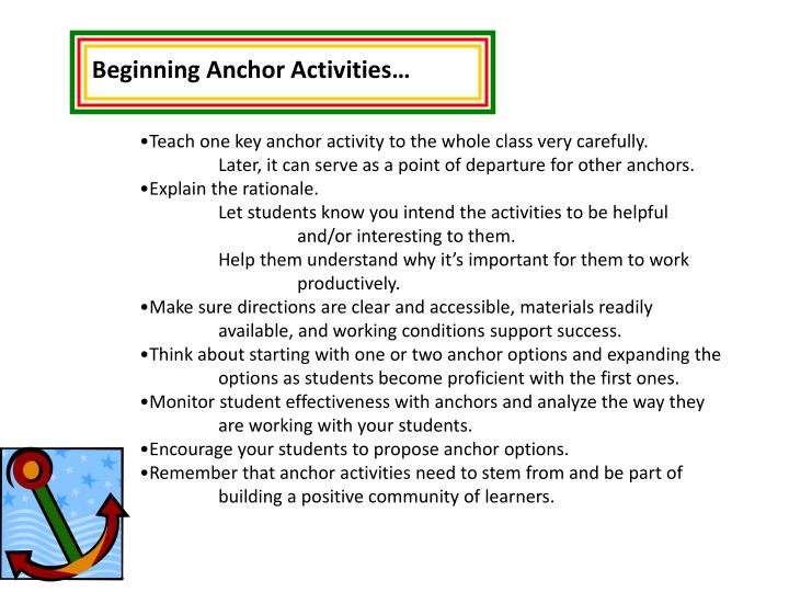Beginning Anchor Activities…