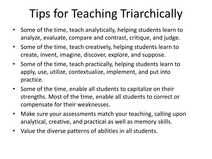 Tips for Teaching Triarchically