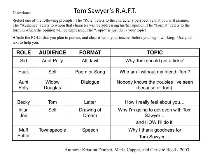 Tom Sawyer's R.A.F.T.