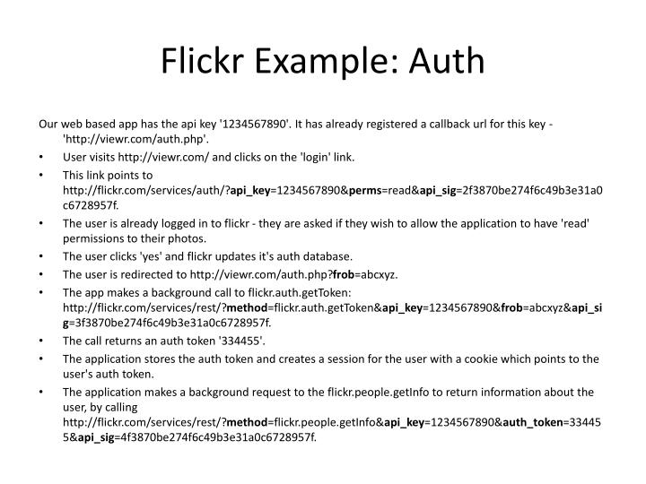 Flickr Example: Auth
