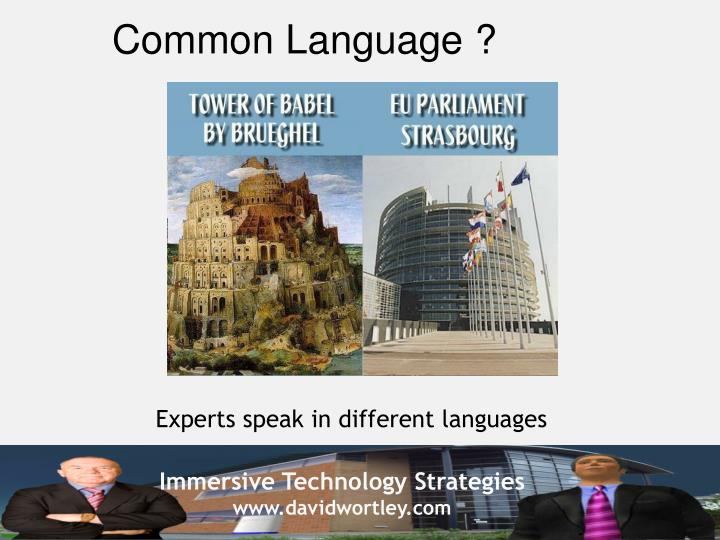 Common Language ?