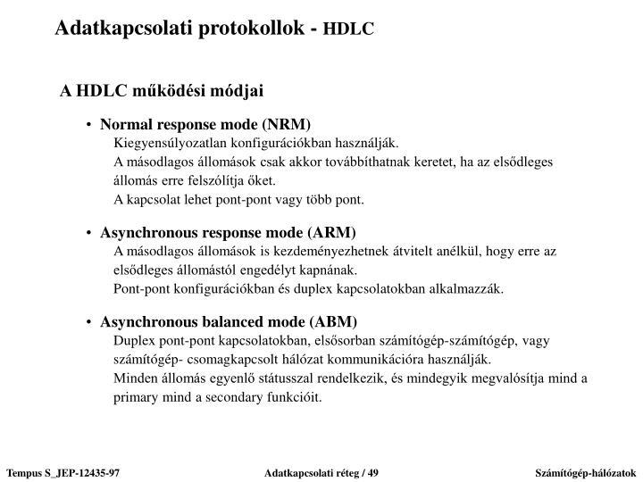 Adatkapcsolati protokollok -