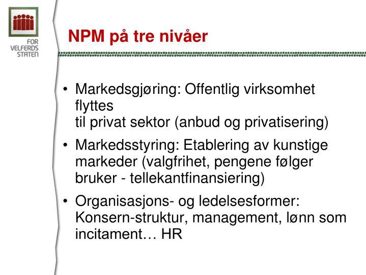 NPM på tre nivåer