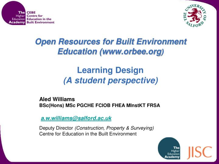open resources for built environment education www orbee org learning design a student perspective