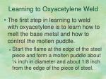 learning to oxyacetylene weld