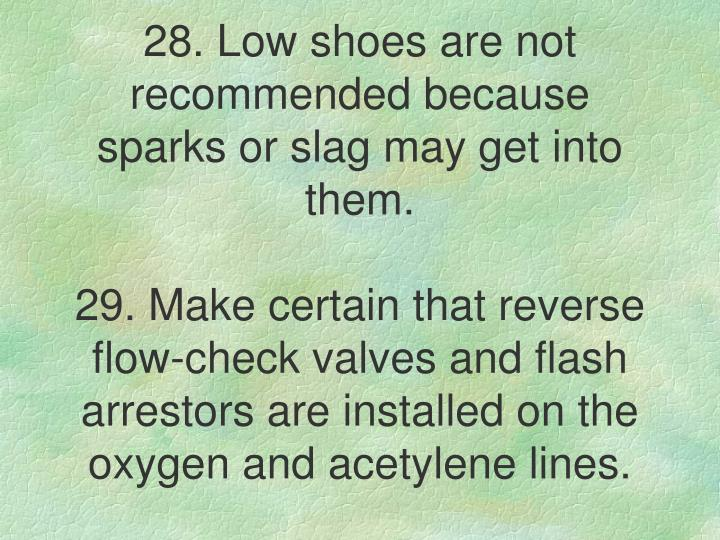 28. Low shoes are not recommended because sparks or slag may get into them.