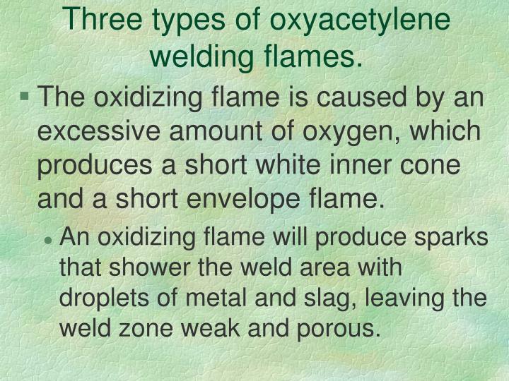 Three types of oxyacetylene welding flames.
