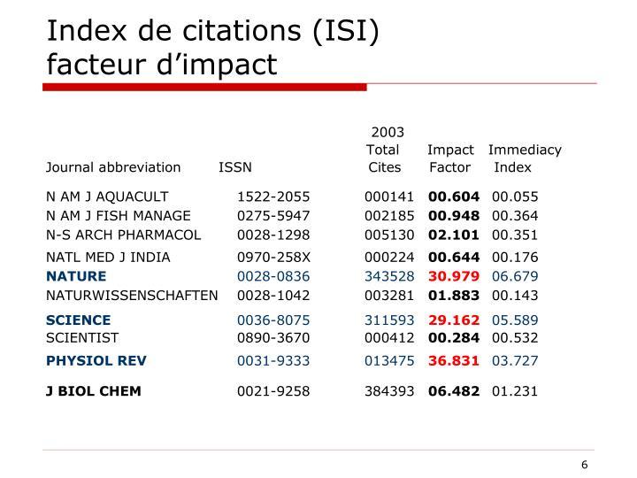Index de citations (ISI)