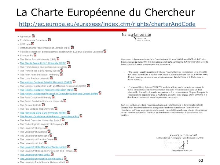 La Charte Européenne du Chercheur