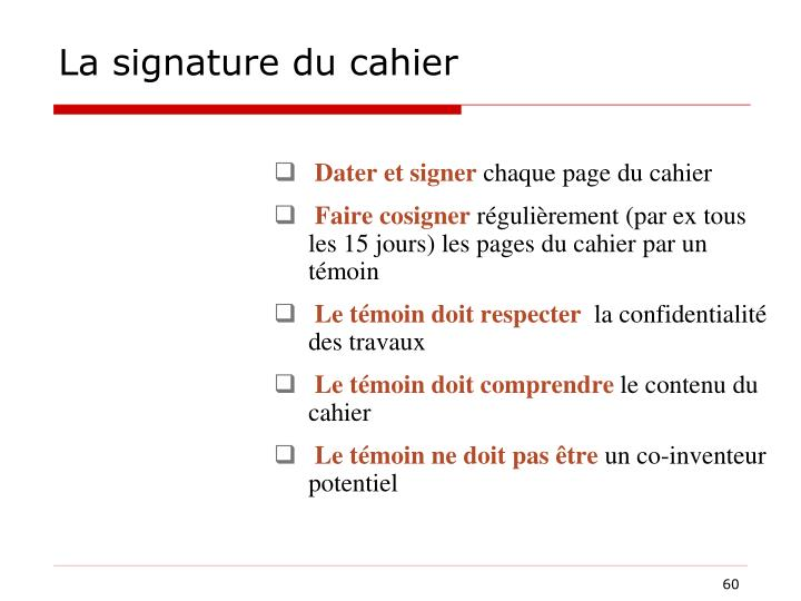 La signature du cahier