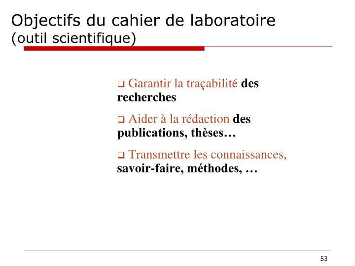 Objectifs du cahier de laboratoire
