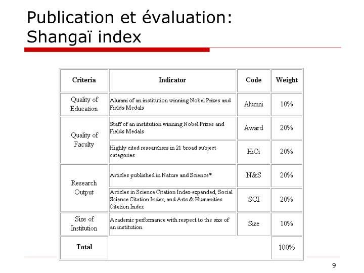 Publication et évaluation: