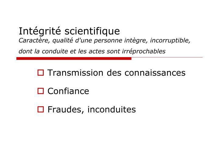 Intégrité scientifique
