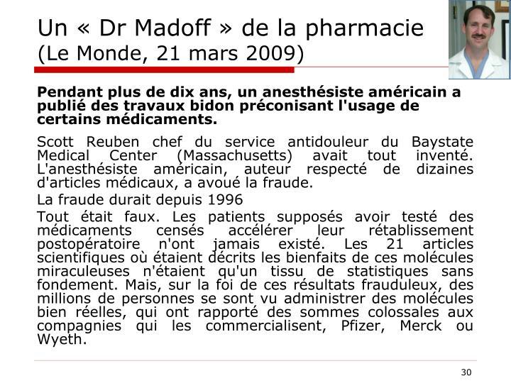 Un « Dr Madoff » de la pharmacie