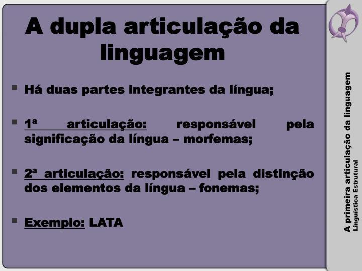 A dupla articulação da linguagem