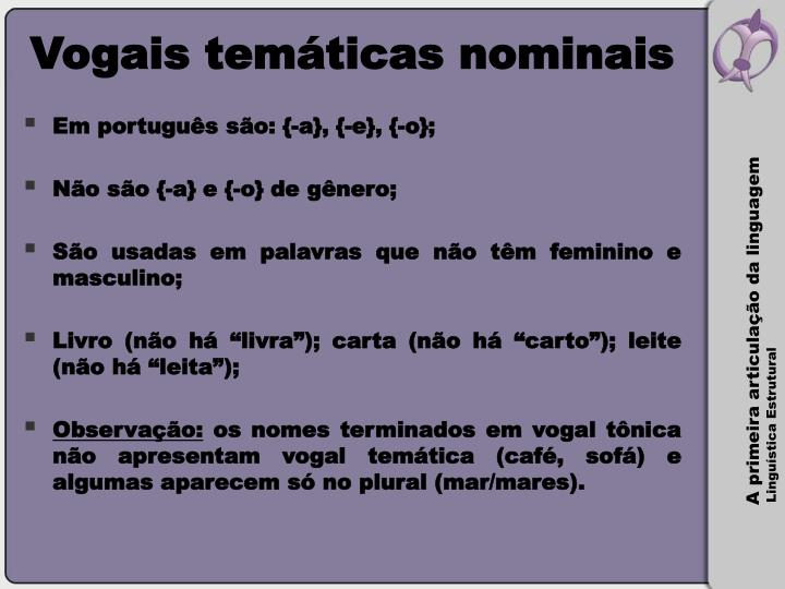Vogais temáticas nominais
