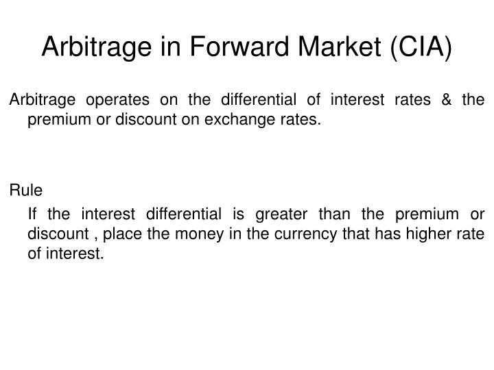 Arbitrage in Forward Market (CIA)