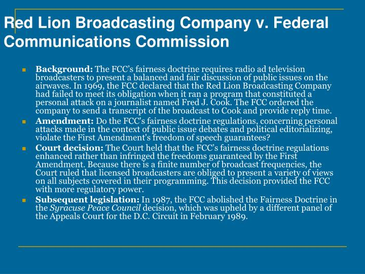 Red Lion Broadcasting Company v. Federal Communications Commission