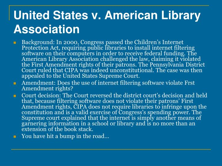 United States v. American Library Association