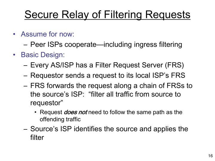 Secure Relay of Filtering Requests