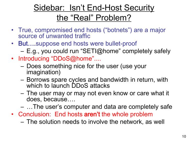 Sidebar:  Isn't End-Host Security