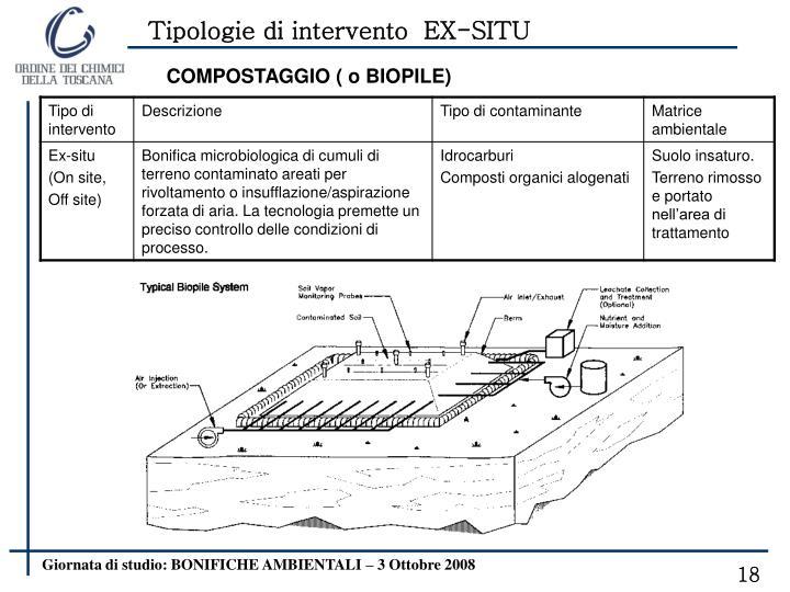 Tipologie di intervento  EX-SITU
