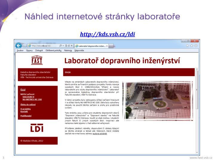 Náhled internetové stránky laboratoře