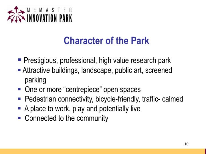 Character of the Park