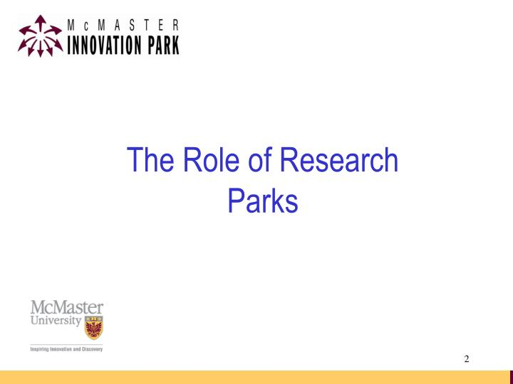 The Role of Research Parks