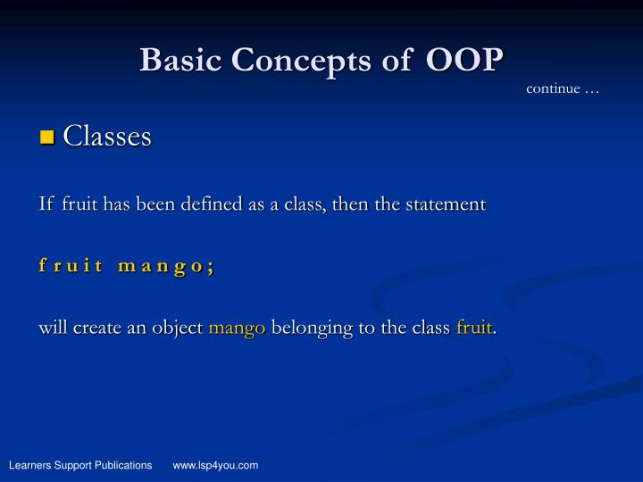 Basic Concepts of OOP