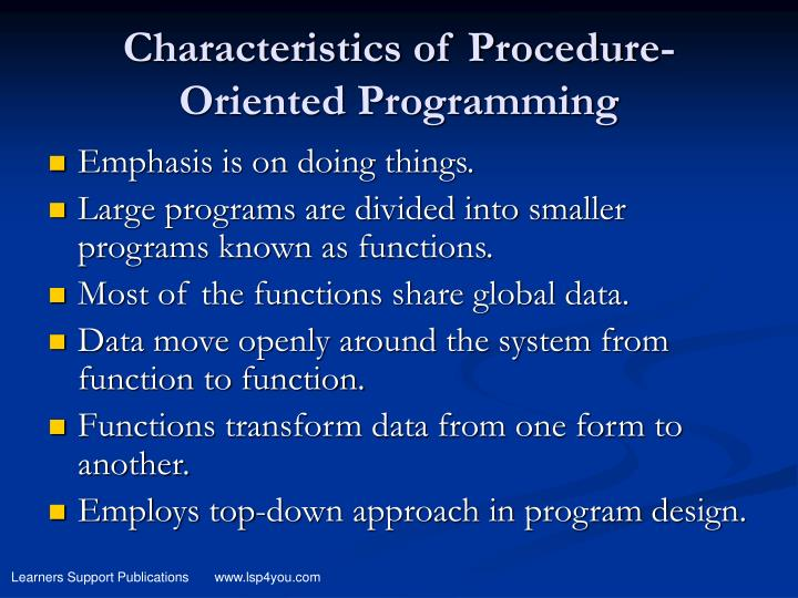 Characteristics of Procedure-Oriented Programming