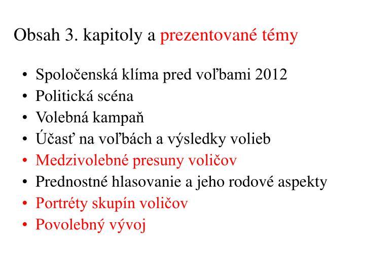 Obsah 3. kapitoly a