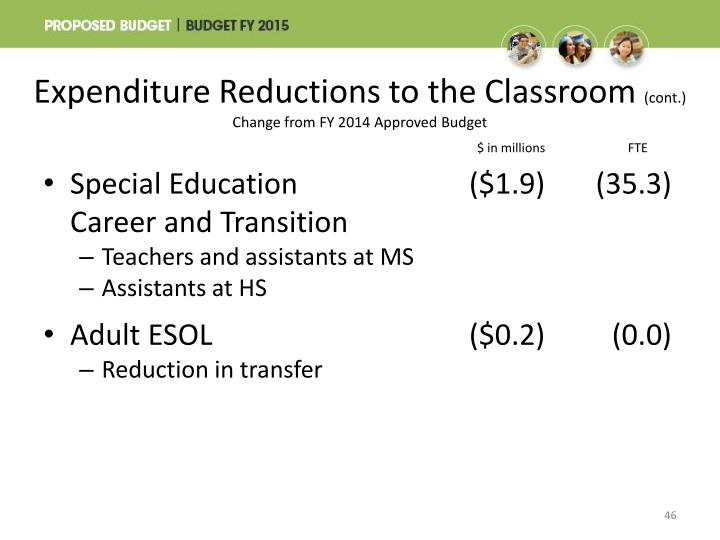 Expenditure Reductions to the Classroom