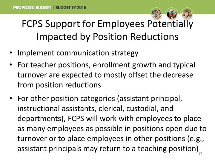 FCPS Support for Employees Potentially Impacted by Position Reductions