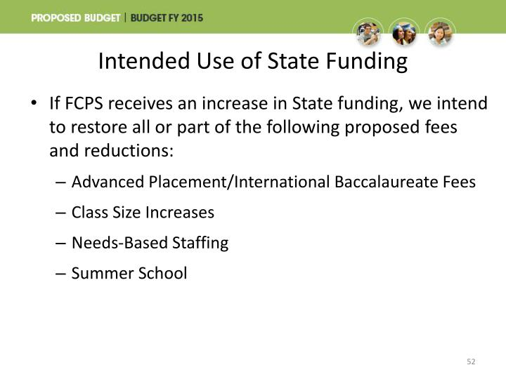 Intended Use of State Funding